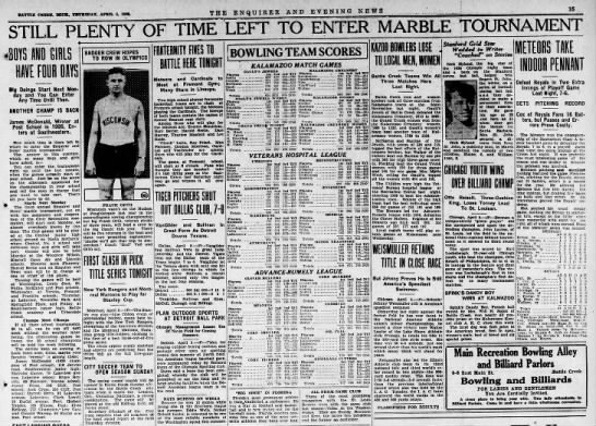 1928.04.05 Marble contest - BATTLE CREEK, MICH., THURSDAY, APRIL 5, 192 THE...