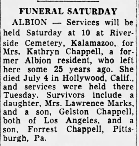 - FUNERAL SATURDAY ALBION Services will be held...