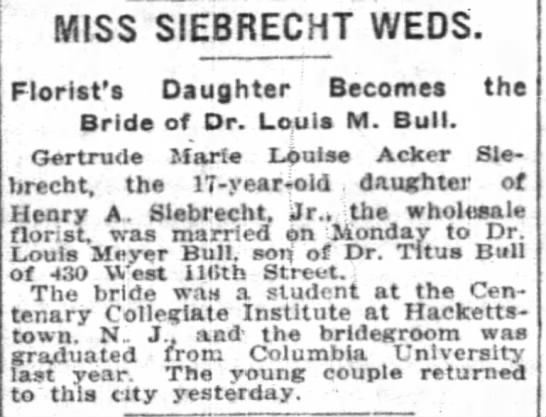- MISS SIEBRECHT WEDS. Florist's Daughter Becomes...