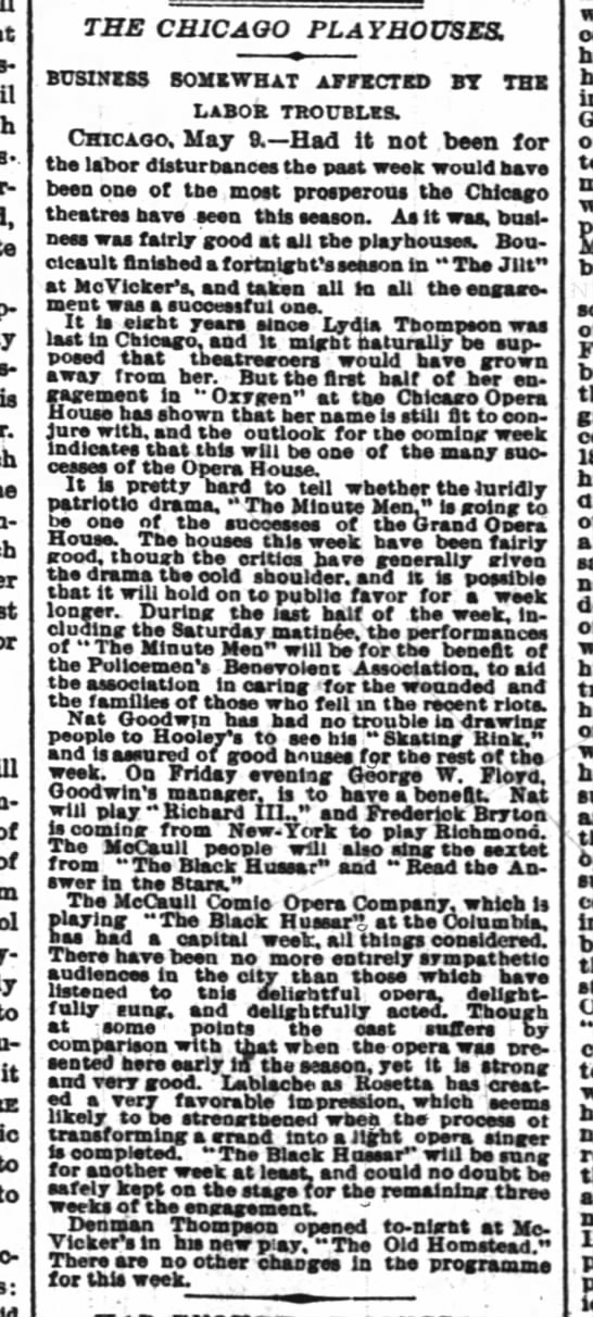 The Black Hussar in Chicago 1886 NY Times 10 May 1886 - of of to it to to THE CHICAGO PLAYHOUSES....