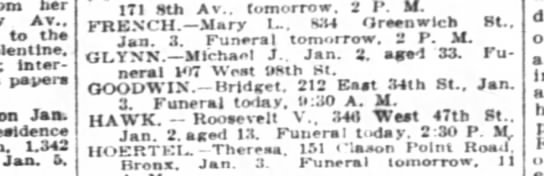Death Notice: Michael J Glynn - her Av.. to the Tolentlne. Interment pepers on...