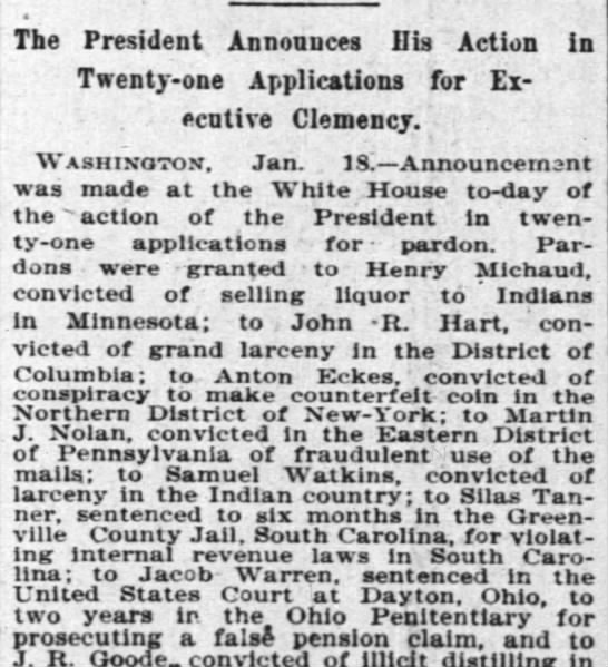 New York Times, Jan 19, 1896 - The President Announces Ilia Action in...
