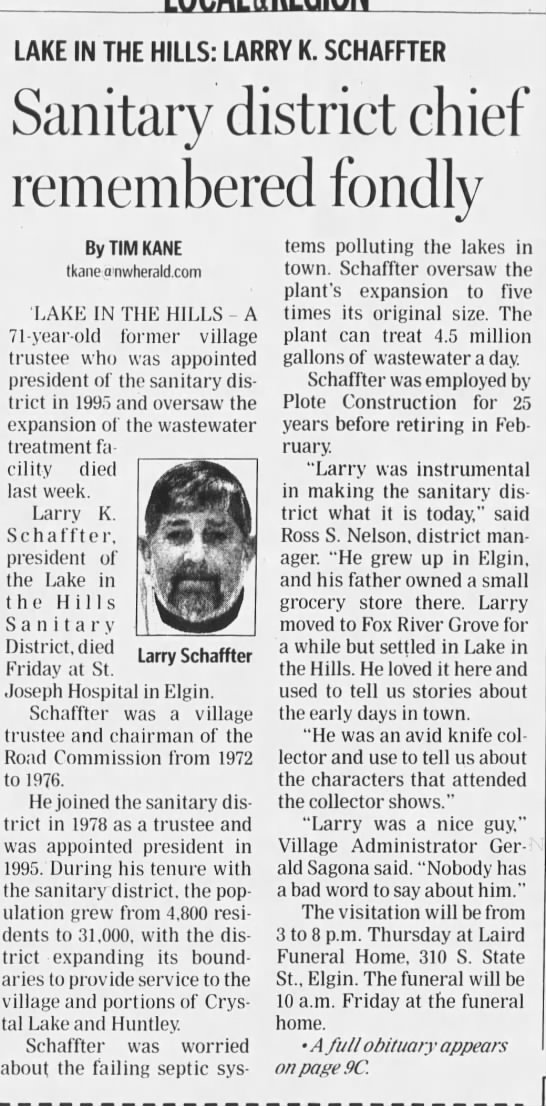 Larry K Schaffter news article 2008 - LAKE IN THE HILLS: LARRY K. SCHAFFTER Sanitary...