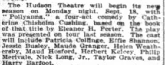 21 august 1916 long in Pollyannna - Th Hudson Theatre will begin Its new season n...