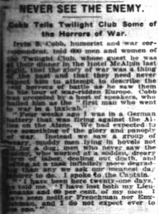 The New York Times (New York, New York) 24 November 1914  Page 14 - - r.EVER SEE THE ENEMY. Ccbb Telia Twilight...