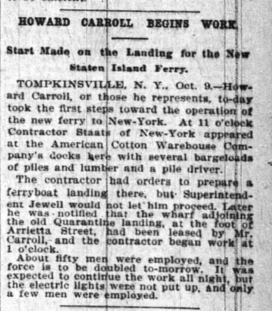 Begin Landing for Ferry to NY NY Times Oct 10, 1894 pg 5 - HOWABOD CA1?0LL BZ0CTS Start Mad, a tit Landing...