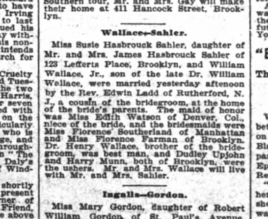 Wallace-Sahler marriage New York Times 27 October 1898 - to have Irving to last his without...