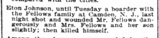 The New York Times New York, NY     page 1 30 December 1897 - Eton Johnson, until Tuesday a boarder with tne...