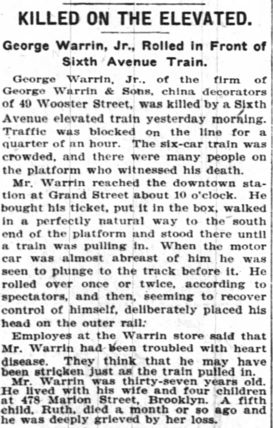 Warrin-NYT-Killed on Elevated-George-4-15-1905 - KILLED ON THE ELEVATED. George Warrin, Jr.,...