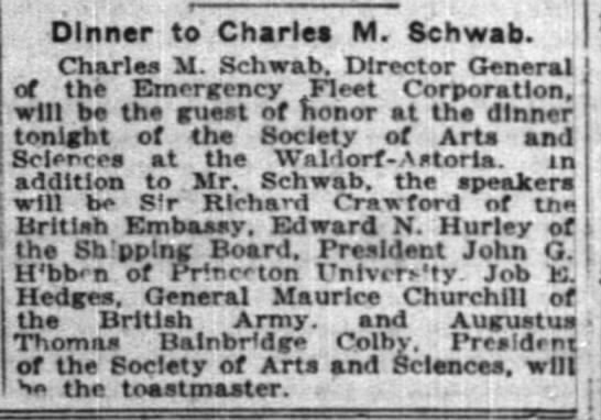 The New York Times (New York, New York) 13 November 1918  Page 13 - Dinner to Charles M. Schwab. Charlea M. Schwab....