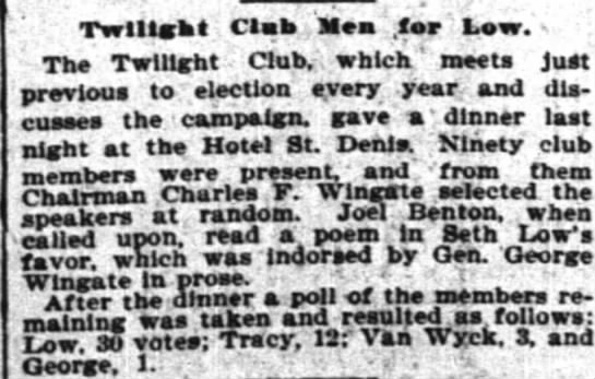 The New York Times (New York, New York) 29 October 1897  Page 5 - . . . ' Twilight ;'. Clafe., '. far Low. : The...
