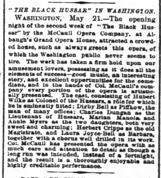 The Black Hussar in Washington 22 May 1888 New York Times