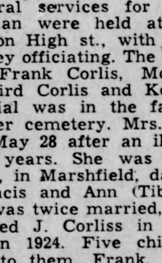 Obit for Mary Felix - services for were held at on High St., with....