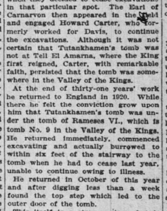 Brief summary of Howard Carter's search for Tut's tomb - in that particular spot. The Earl of Carnarvon...