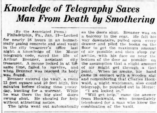 Man Locked in Bank Vault Uses Morse Code to Call for Help - Knowledge of Telegraphy Saves Man From Death by...