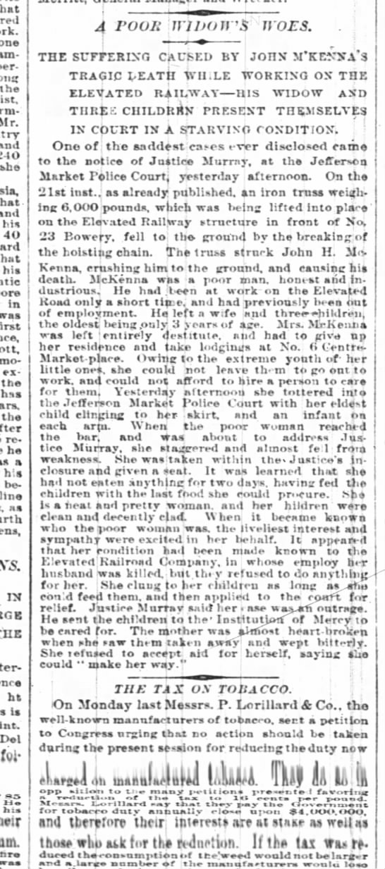 John McK widow NYT 29 May 1878 page 8 column 3 - that one per-eone the Mr. she thst and his 40...