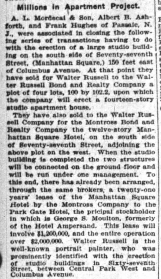 The New York Times (New York, New York) 19 January 1907  Page 14 - ; Millions In Apartmant Projtct f A, I Mordecal...