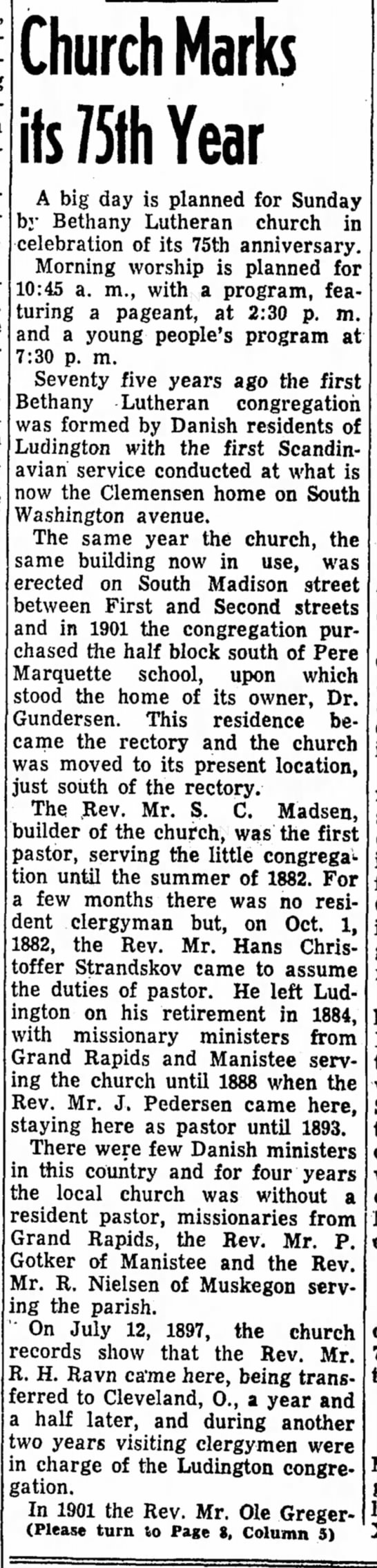 - Church Marks its 75th Year A big day is planned...