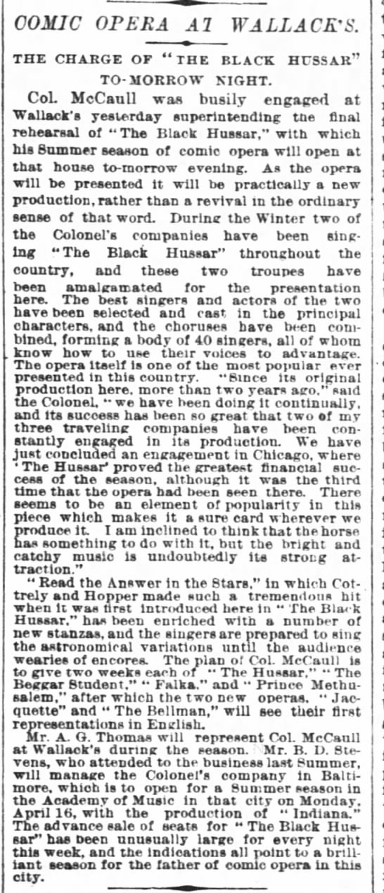 NY Times 8 May 1887 Preview of McCaull Opera Production