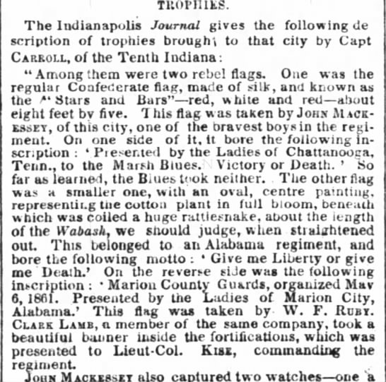 Flag Desc 2 - TUOpnitS. Tbe Indianapolis Journal gives the...