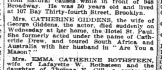 May 9 1919 NYTimes - causes in front of 948 Broadway. He was 60...