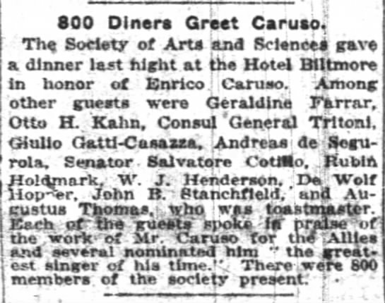 The New York Times (New York, New York) 13 January 1919  Page 9 - 800 Diner Greet Caruso. The. Society of Art and...