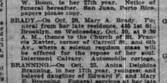 Mary A Brady obit 28 Oct 1918 - Yon-kera. W. Boom, la her S7th year. Notice of...
