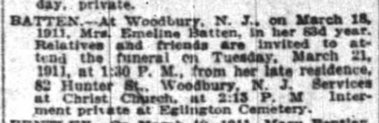 Mrs. Emeline Batten, born approx. 1828. Married to one of Emma's brothers? - day, . private. BATTEN AS Woodbury. I. J.. est...