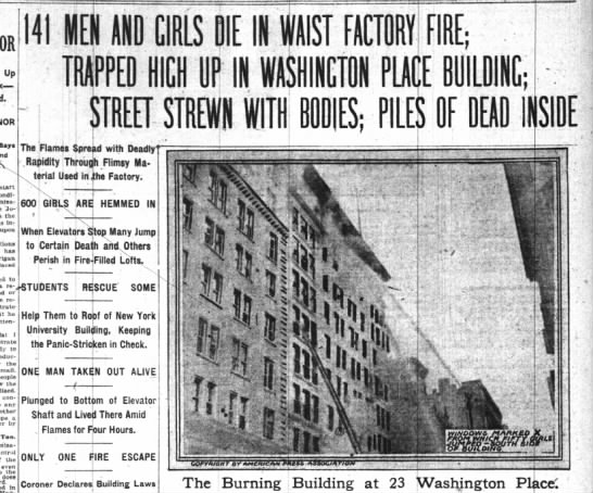 Triangle Shirtwaist Factory fire headlines - 141 AND CIRLS TRAPPED HICH UR IN WASHINGTON...