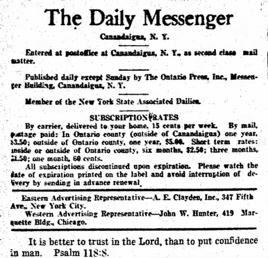 Ad Mrg 1923 - The Daily Messenger Canudaigu, K. Y. latter. at...