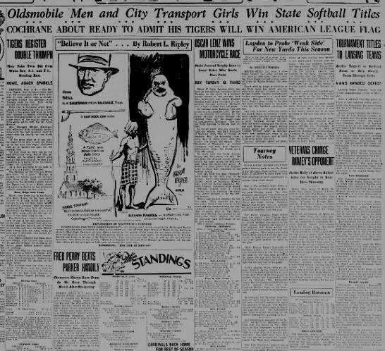 Oldsmobile Men and City Transport Girls Win State Softball Titles - Oldsmobile Men and City Transport Girls Win...