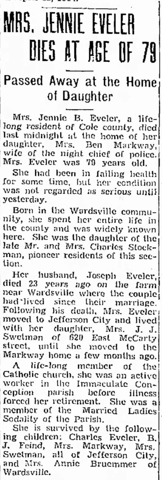 Jennie Stockman Eveler Obit - it of and yesterday. 12 wife of (he night chief...