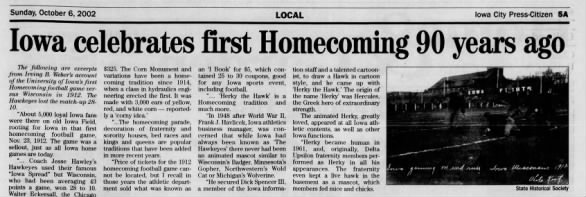 Iowa Celebrates first Homecoming 90 years ago