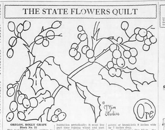 - J THE STATE FLOWERS QUILT OREGON. HOLLY GRAPE...