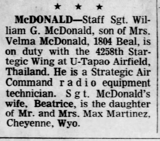 In Service - William G. McDonald - 1969 Lansing State Journal - McDONALD Staff Sgt. William William G....