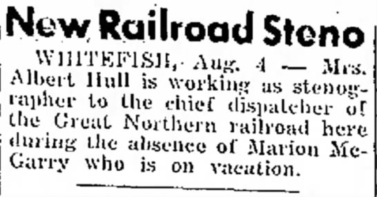 MARION MCGARRY 4 AUG 1951 THE DAILY INTER LAKE  - New Railroad Stono WmTKPJSH,. Aug. 4 - A l b e...