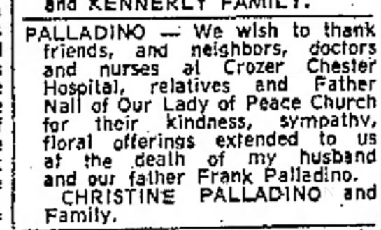 Frank Palladino - and KENNERLY FAMILY. PALLADINO -- We wish to...