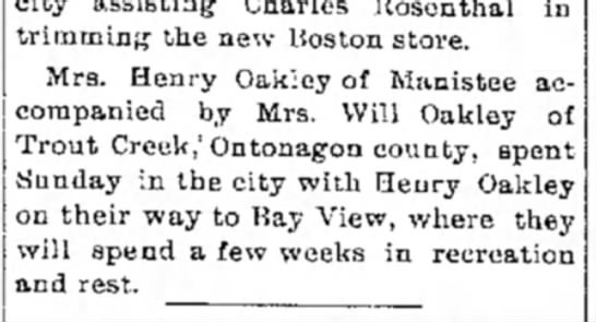 Mrs Oakley - trimming the new Boston store. Mrs. Henry...
