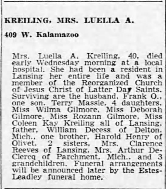 Luella A (Decess) Kreiling Obituary - 1962 - KREILLN'G. MRS. LUELLA A. 409 W. Kalamazoo Mrs....