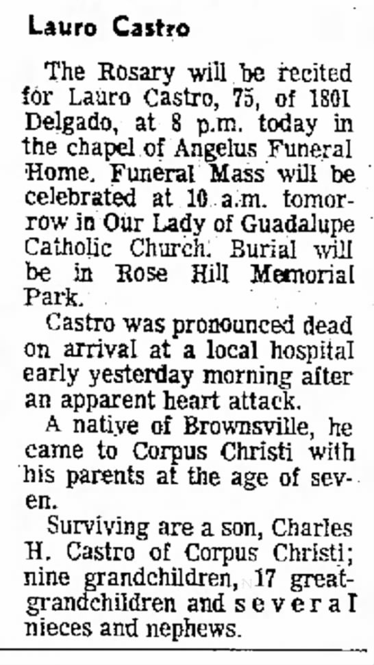 - 2 p.m. Humble. Lauro Castro The Rosary will be...