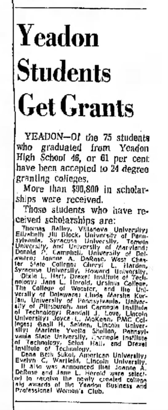 Yeadon HS Class of 1967 - Yeadon Students Get Grants YEADON-Of the 75...