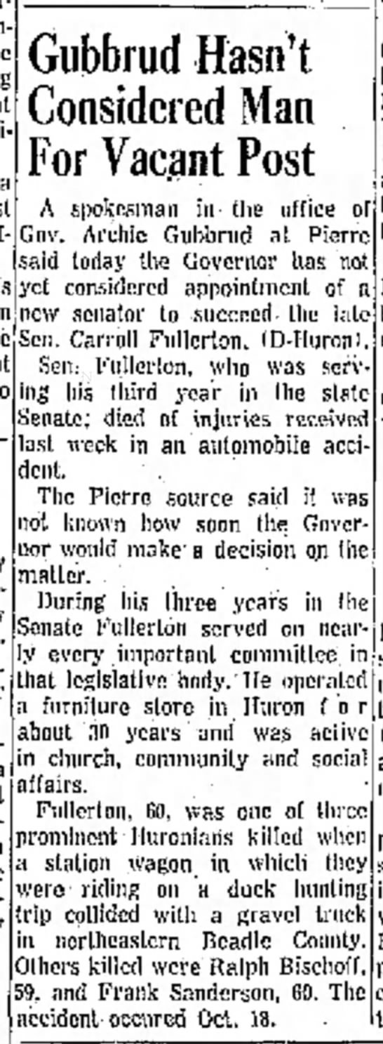 No appointment for vacant post - Carroll Fullerton - 26 Oct 1960 - o jus t h e r 60s a Gubbrud Hasn't Considered...