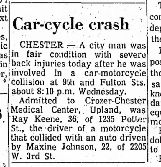 RAY KEENE ACCIDENT DELAWARE DAILY TIMES SEPT 1971