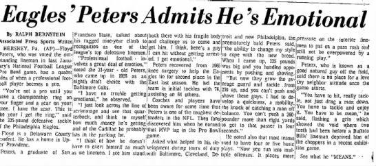 Eagles-Peters-Emotional-Sept81967-DelawareCoDailyTimes-Chester-PA - Eagles 'Peters Admits He's Emotional By RALPH...