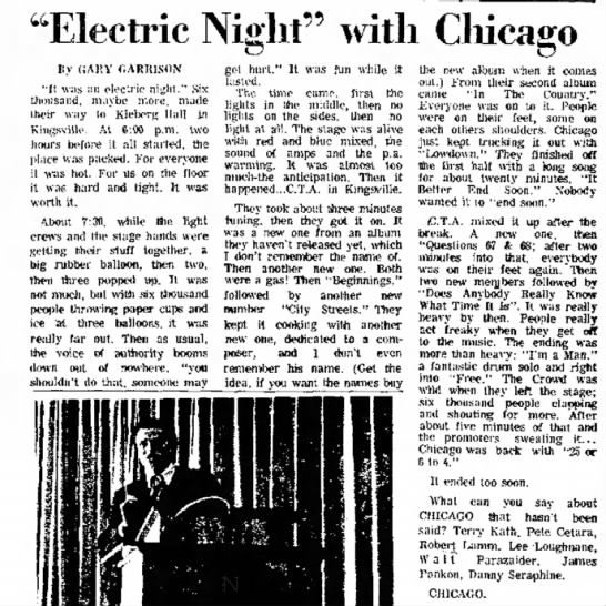 """Brownsville Herald, TX 2-18-72 review - """"Electric Night"""" with Chicago By CiARY..."""