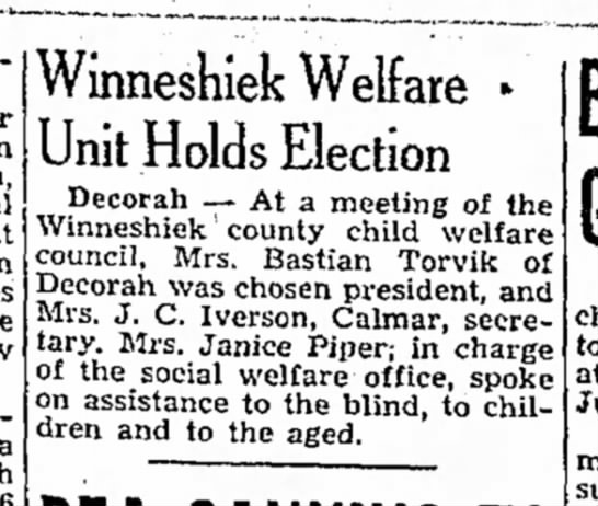 - a Winneshiek Welfare » Unit Holds Election...