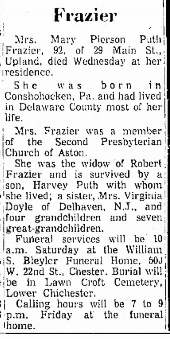 Frazier Pierson Mary obituary Delaware County Daily Times 30 Nov 1972 page 4 - Fra/ier p.m. ,, ., _. _ L . i n i Mar - v...