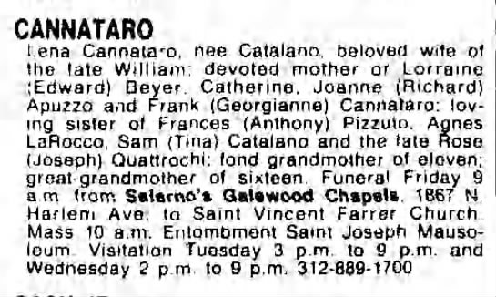 Obituary- Lena Catalano Cannataro - CANNATARO Lena Cannataro, nee Catalano, beloved...