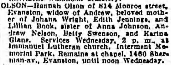 Hannah (Nilsson) Olson Obituary - Chicago Tribune - 10 Dec 1941 - OLSON Hannah Olson ot 81 Monroe street,...