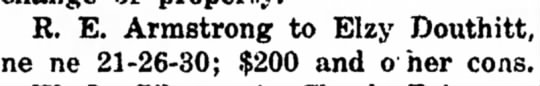 Elzy Douthitt - R. E. Armstrong to Elzy Douthitt, ne ne...